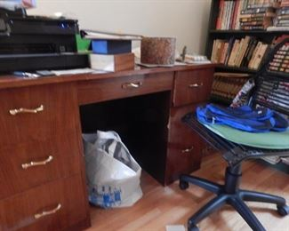 Home office desk and chair... other office supplies as well.