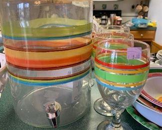 Fiesta colors beverage jar and 4 goblets