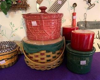 Longaberger Christmas Baskets, crocks and candles