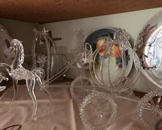 Large handmade spun glass horse and carriage