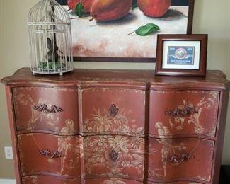 Beautiful Asian Cabinet. Original Signed Art.