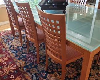 Slater and Marinoff Modern Table with Sea Glass Top and 8 Designer Chairs. Large Wool Designer Carpet.