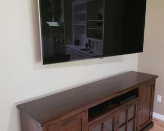 Mission Credenza/Cabinet. Very Large Samsung Flat Screen.
