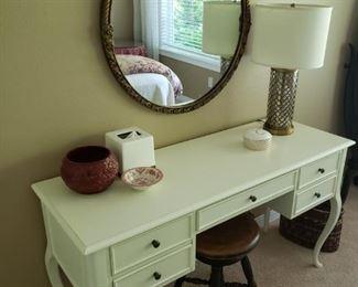 Shabby Chic/Beach Rustic Vanity Cabinet. Oval Mirror.  Modern lamp. Vintage Stool.