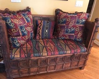 Moroccan Hand carved storage bench