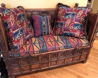 Hand carved wooden Moroccan storage bench