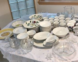Every day dish set in white, dowels, cups, serving dishes