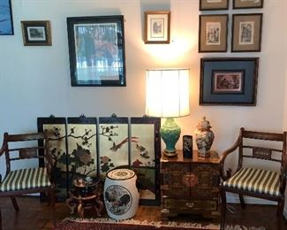 Asian vintage wood 4 panel wall hanging, lamp, lacquer cabinet, porcelain drum, jar, bowl. Hand made Persian rug.