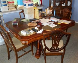 antique table six chair  collectibles in boxes