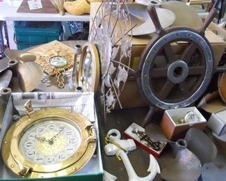 nautical decor 8 brass propellors,k port hole clock, anchor and anchor decor