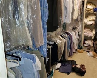 Men's clothing to include, suits, pants, shirts, slacks, and much more.