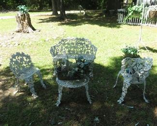 CAST IRON VICTORIAN FURNITURE.  2 SETS.