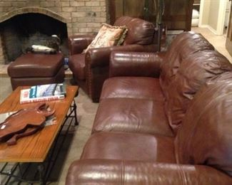 Brown leather sofa and matching chair & ottoman