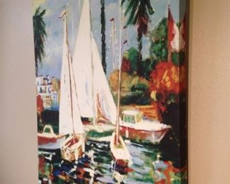 Colorful sailboat art