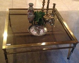Matching brass & glass coffee table