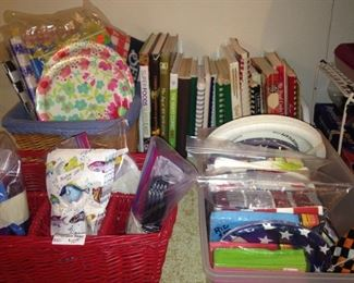 Recipe books and party supplies