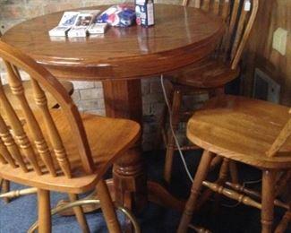 Bistro table; bar stools