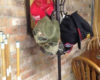 Pool cues; hat rack
