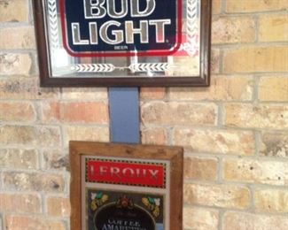 Bud Light and Leroux framed mirrored signs