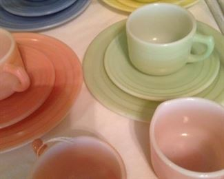 Children's vintage Hazel Atlas moderntone platonite pastel hostess tea set selections