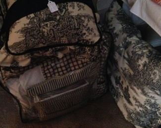 Black & white toile king comforter, bedskirt, pillows, and pillow cases