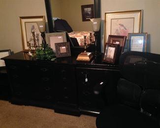 Large black dresser; frames
