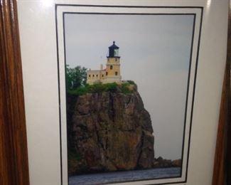 """Small framed art - """"Split Rock Lighthouse"""" by Lin Colbert"""