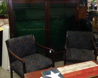 Matching arm chairs; cedar chest; decorative wooden Texas flag