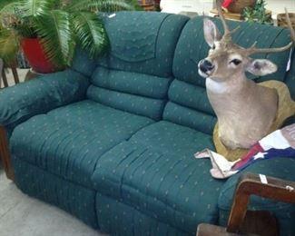Double recliner; deer mount