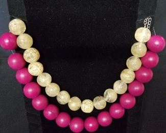 Big Beaded Double Strand Necklace
