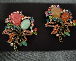 Costume Jewelry Pair of Brooches