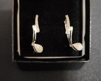 Designer Earrings Gold Over Silver