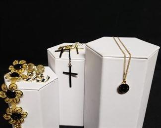 Earrings, Bracelet, and Brooch