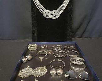 Splashes of Silver Colored Costume Jewelry