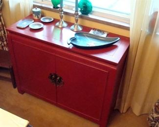 Oriental chest, one drawer, two doors. Wedgewood and etc.