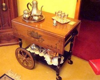 Vintage Heywood wakefield tea cart .