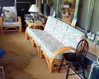 Calif-Asia mid century rattan sofa, chair & two end tables plus other items.