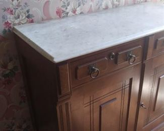 Early Marble Top Walnut Server