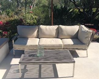 Brushed Aluminum patio set with table Crate and barrrel $450