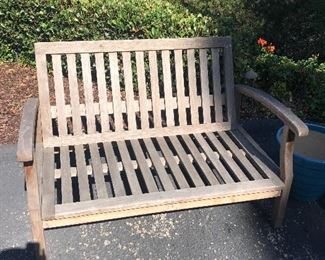 Teak Bench Teak Bench with Sunbrella cushions $200 - has a broken leg that is easily repaired
