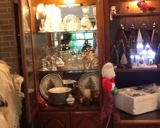 Large Assortment of lovely crystal items, Crate and Barrel Christmas plates, Hofbauer Byrdes lead crystal cake plate