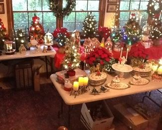 Temptation Red Cardinal serving dishes, lots of new Christmas items. Lighted table top Christmas trees. And Wreath