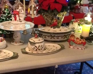We have several pieces made by Temptations, decorated with cardinals that are three piece two quart casserole dishes.
