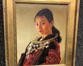 Jie Wei Zhou Original Oil On Canvas Portrait