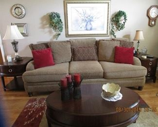 Sofa & matching  Love Seat, Lamps, Artwork.... End Tables and coffee table from Haverty's....Lots of Home Accessories..
