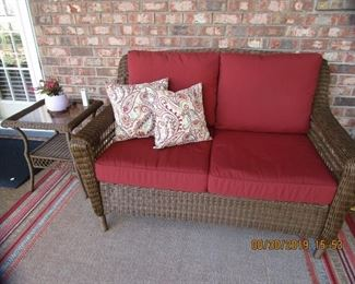 LoveSeat purchased from Lynn's Patio , end tables, lots of outdoor area rugs, accessories,