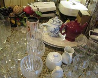 lots of glassware, meat platters, etc.