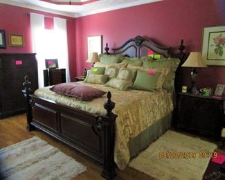 King Size Bed , Dresser, Chest, matching end tables, artwork, lamps, Bedspreads/pillows, Area Rugs, Ladies Jewelry Cabinet.  etc.