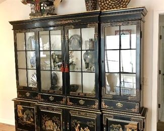 Classic Chinese Black Lacquer Breakfront - $895 - (90W  18D  82H)