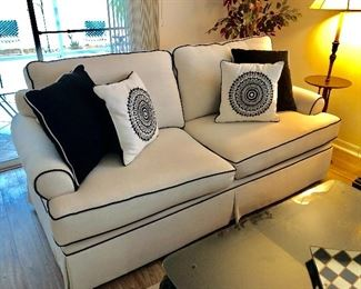 Bassett White-with-Black-Piping Sofa - $100 - (77W  42D  36H)